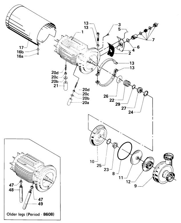 Alfa Laval FM-1A/FM-2A Centrifugal Pump Diagram Single Shaft Seal