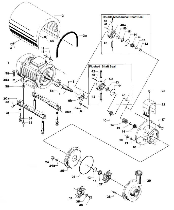 Alfa Laval LKH-15 Centrifugal Pump Diagram Single Flushed Double Mechanical Shaft Seal