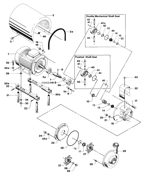 Alfa Laval LKH-20 Centrifugal Pump Diagram Single Flushed Double Mechanical Shaft Seal