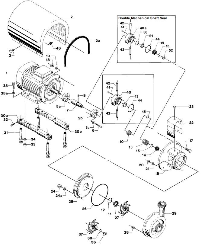 Alfa Laval LKH-25 Centrifugal Pump Diagram Single Flushed Double Mechanical Shaft Seal