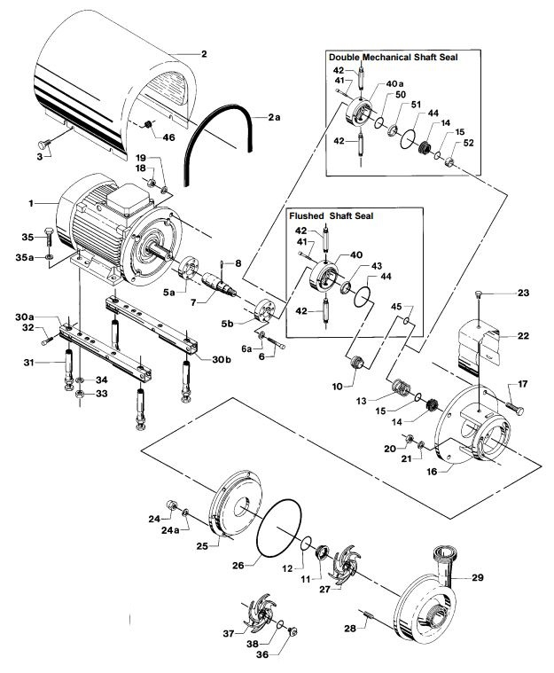 Alfa Laval LKH-35 Centrifugal Pump Diagram Single Flushed Double Mechanical Shaft Seal