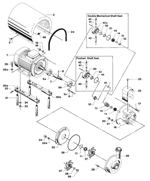 Alfa Laval LKH-45 Centrifugal Pump Diagram Single Flushed Double Mechanical Shaft Seal