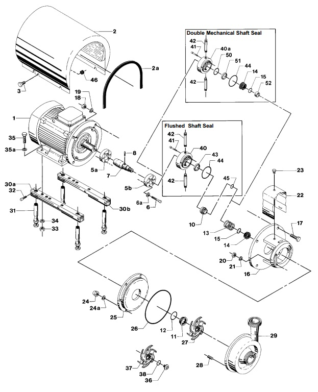Alfa Laval LKH-50 Centrifugal Pump Diagram Single Flushed Double Mechanical Shaft Seal