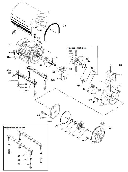 Alfa Laval LKH-70 Centrifugal Pump Diagram Single Flushed Shaft Seal